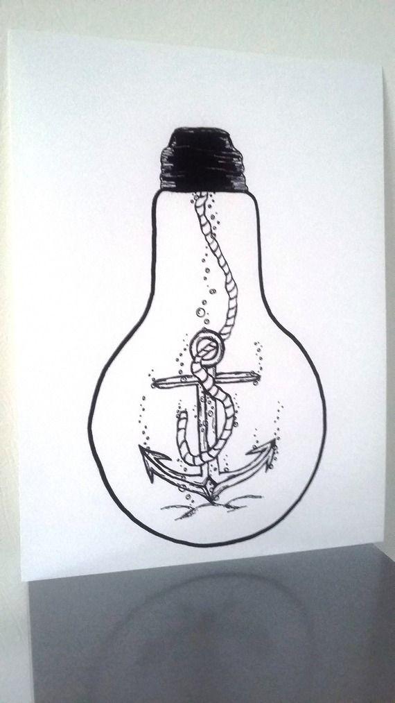 Affiche Illustration Noir Et Blanc Ampoule Ancrez Vos