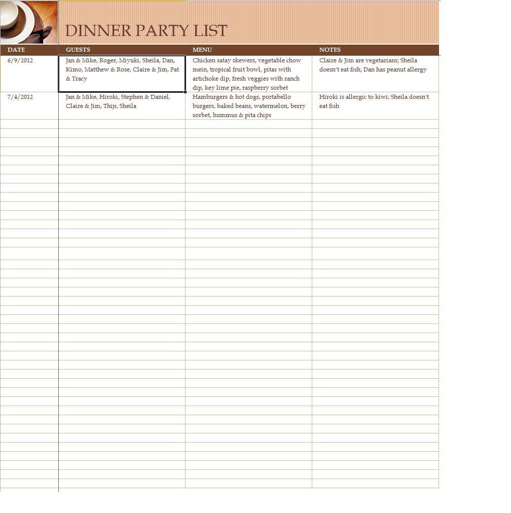Dinner Party Guest List Planner Printable Pinterest Guest List