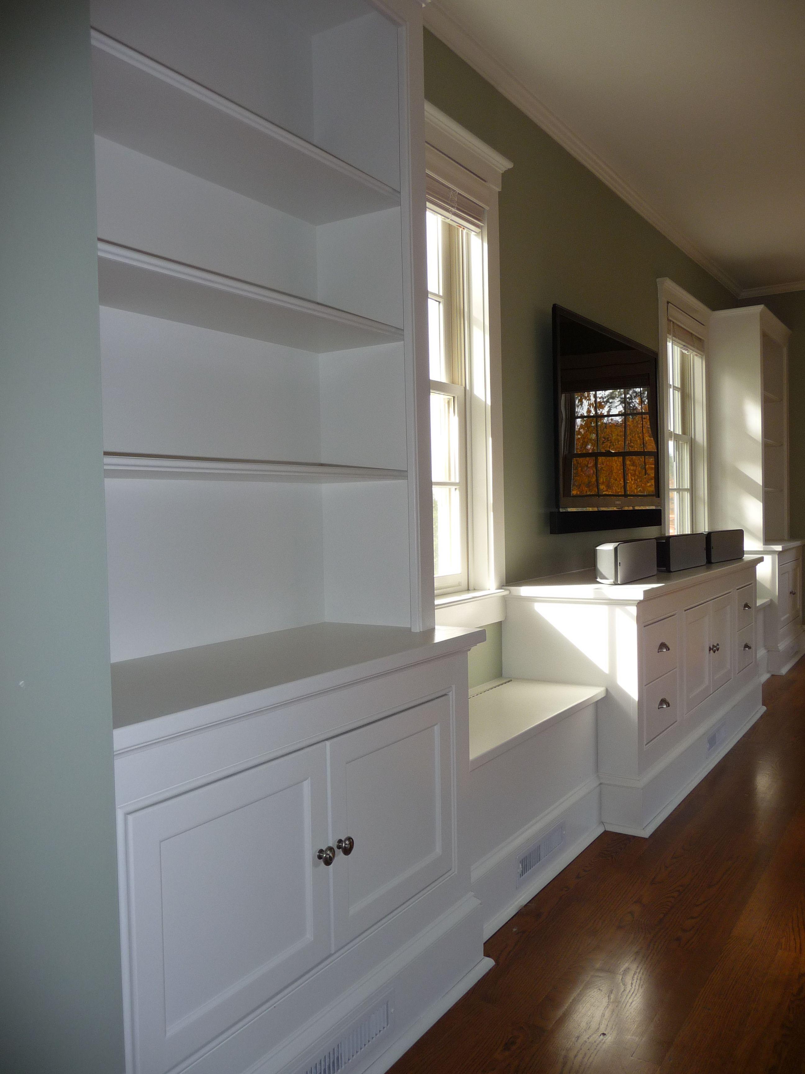 Brilliant Custom Entertainment Center With Flanking Book Cases Window Inzonedesignstudio Interior Chair Design Inzonedesignstudiocom