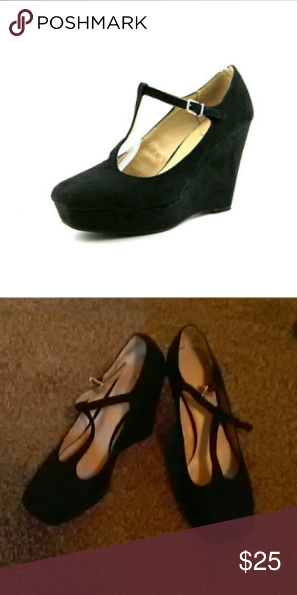 63a284d32dd Studio Paolo Mary Jane wedges 👠 Black suede Mary Jane size 8.5 Studio  Paolo Shoes Wedges