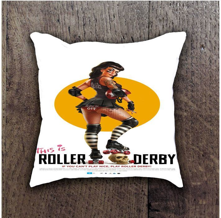THIS IS ROLLER DERBY BATHROOM PILLOWS