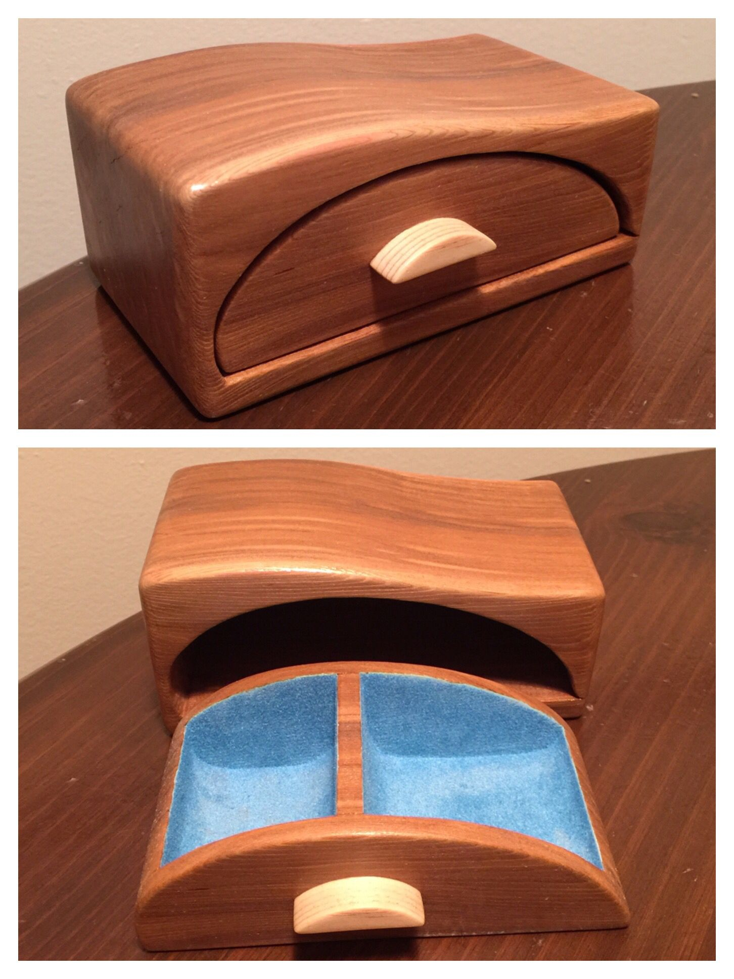 Birch Bandsaw Box ~ Bandsaw box made from cedar with blue flocking in