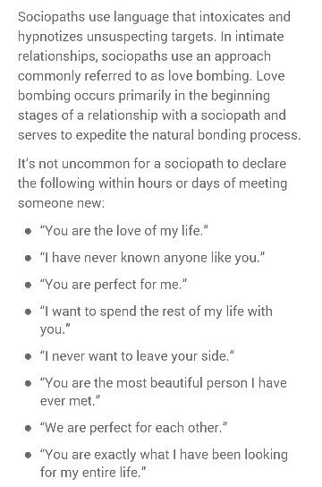 Declare What You Want In A Relationship  >> Language That Intoxicates Sociopath Charmer Love Bombing A