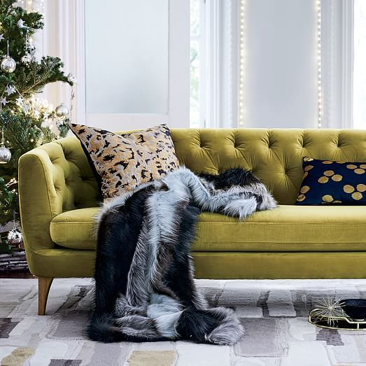 Lola Tufted Sofa Plush Velvet Wasabi