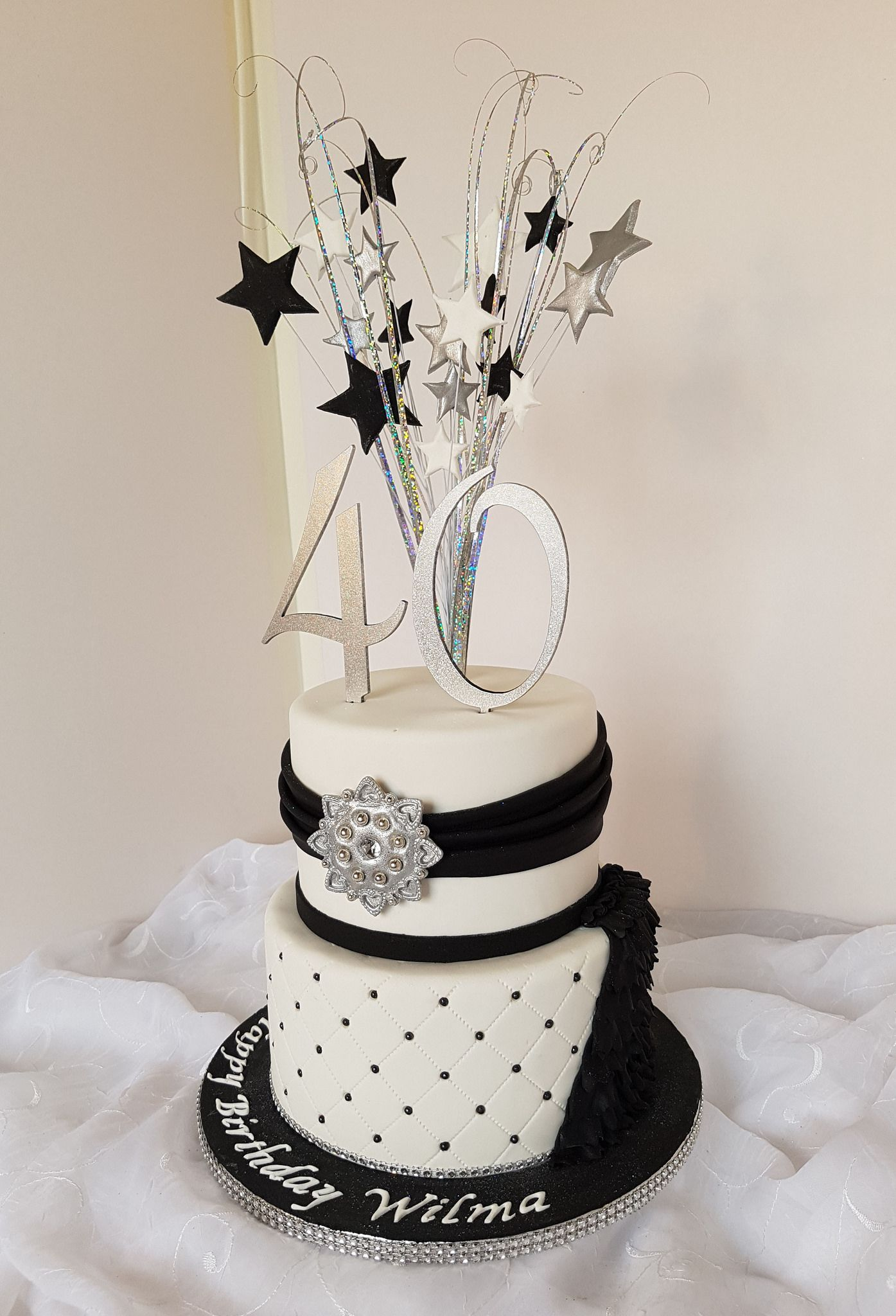 Fancy 40th White Silver And Black Birthday Cake In