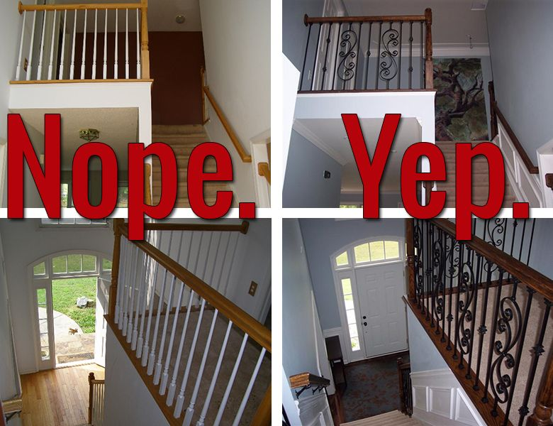iron baluster staircase before and after totally easy