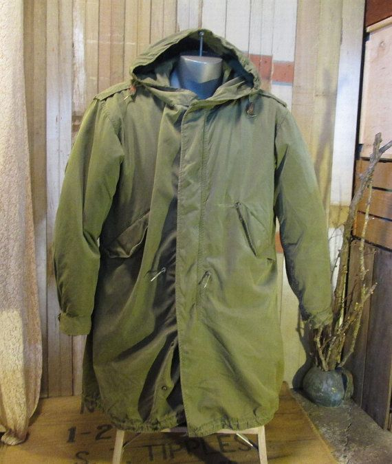 Army M 51 Fishtail Parka Military MOD coat Vintage 50s Green cotton ... 5033d9eecd7