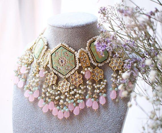 luxury jewellery set, pink, mint, kundan, gold pla