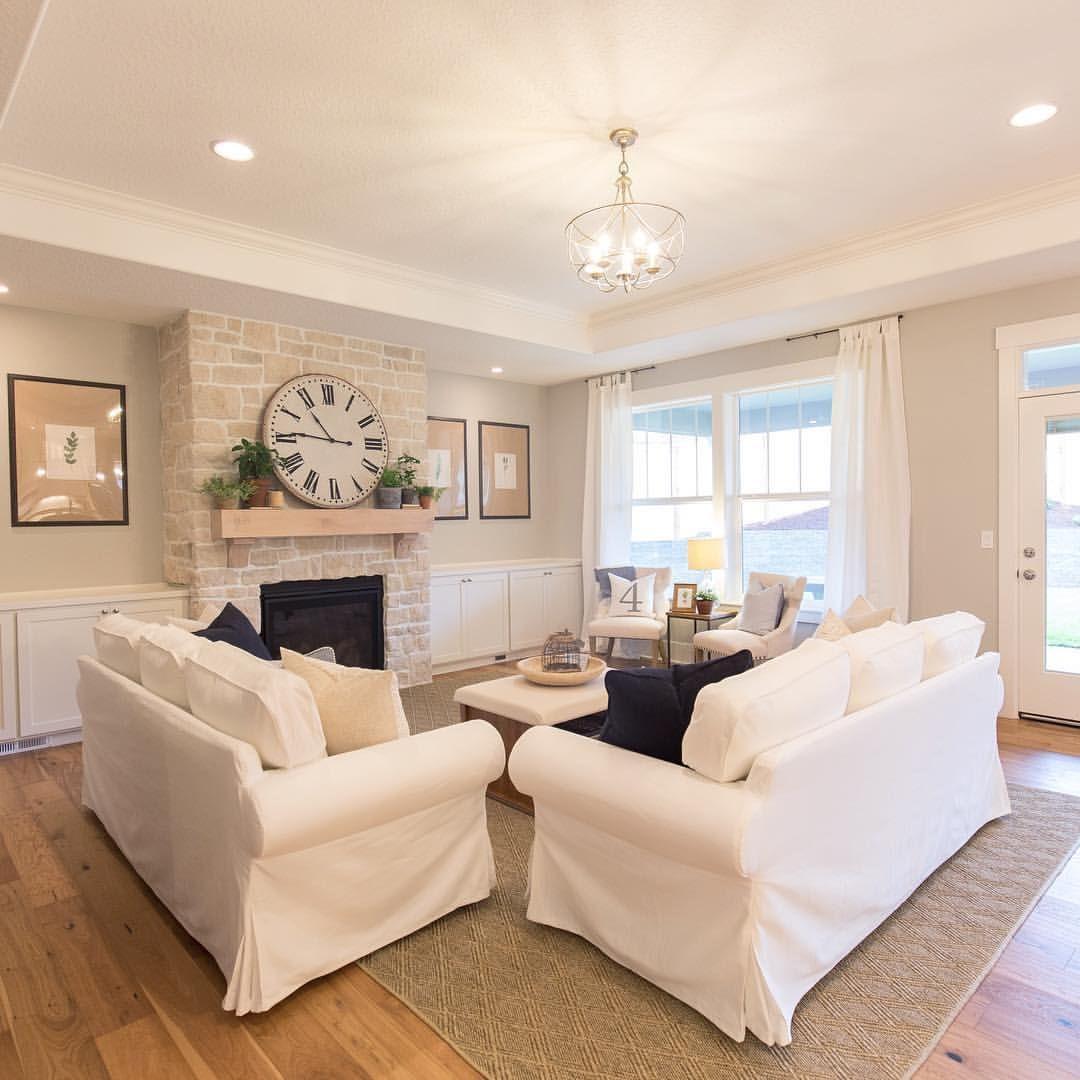 White Ikea Ektorp Couches With Repose Gray Walls And European White Oak Floors White Oak Floors European White Oak Floors Oak Floor Living Room