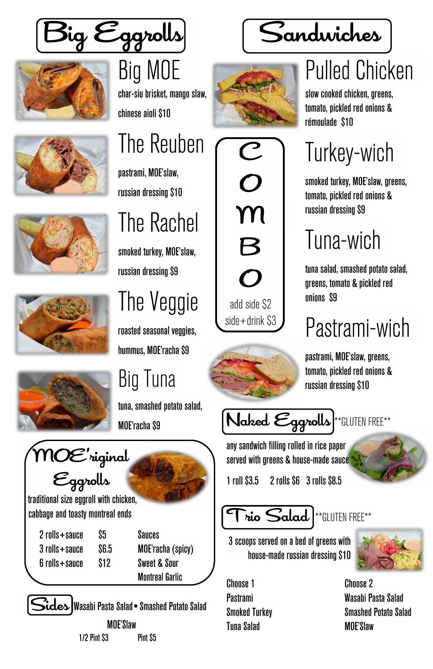 The Moe Deli Menu Slow Cooked Chicken Mango Slaw Vegan Burrito