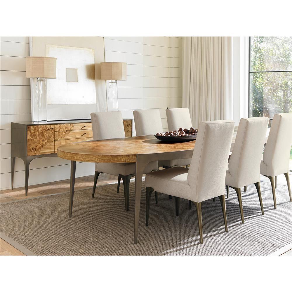 Zita modern oval burl veneer bronze dining table kathy kuo home