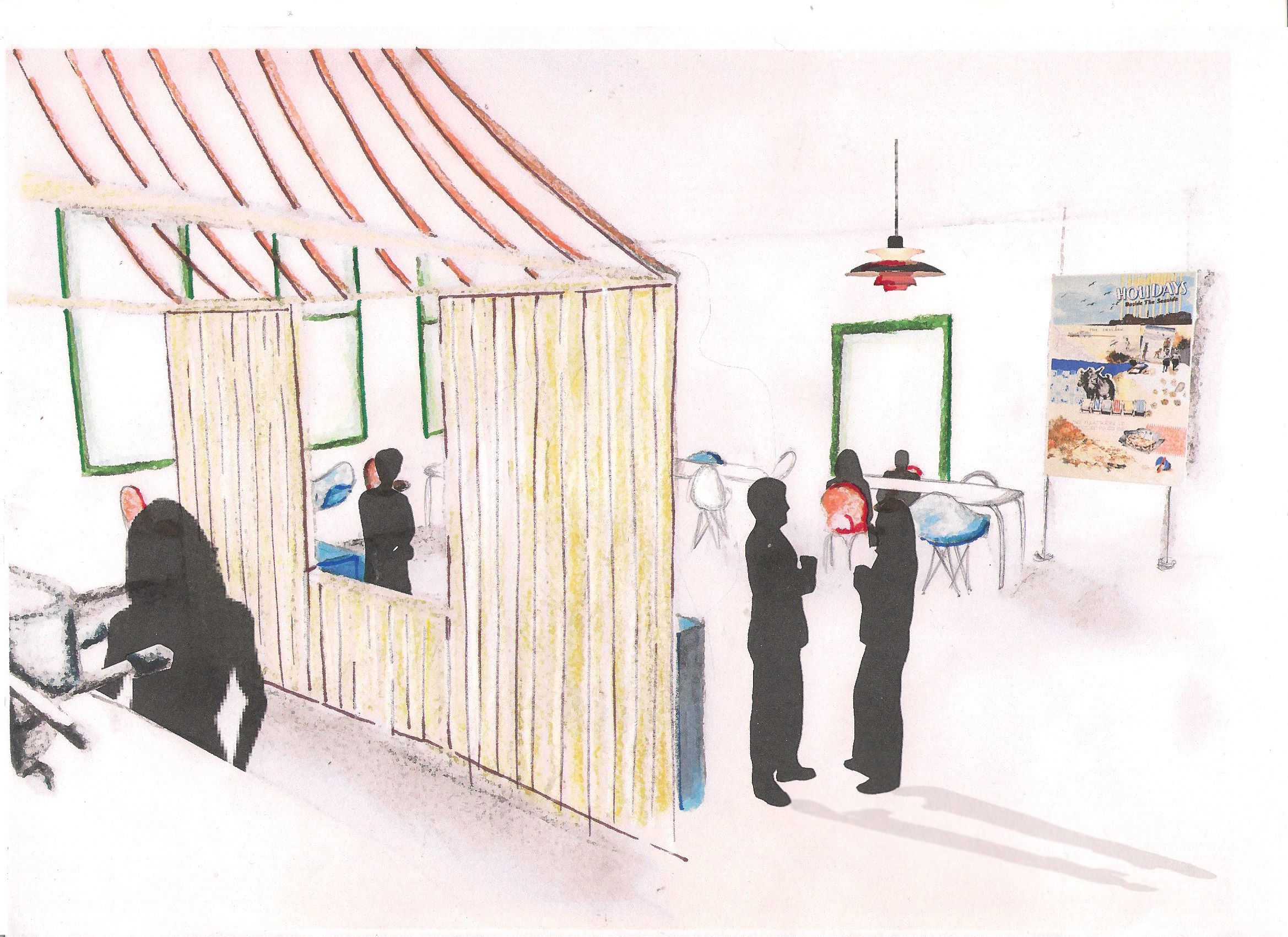 Rendered visual of cafe in dementia design proposal - Degree project
