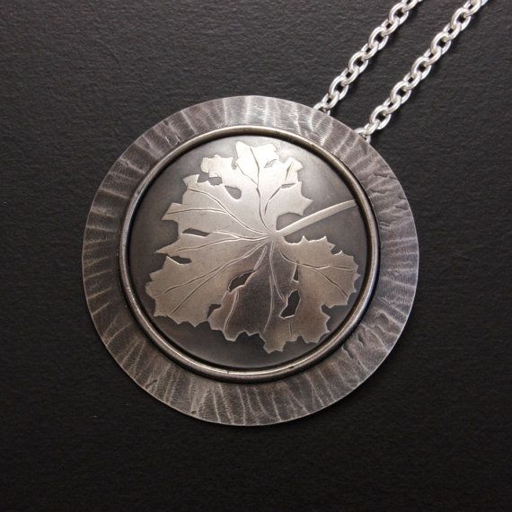 Leaf motif silver Keum Boo round pendant by KAZNESQ on Etsy