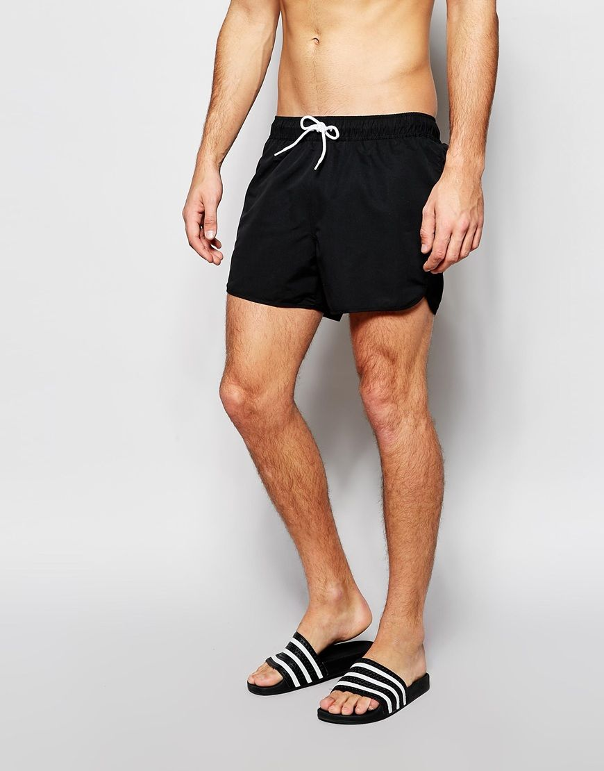 9a32a43958 Pin this ASOS Runner Swim Shorts In Short Length - Black - http://