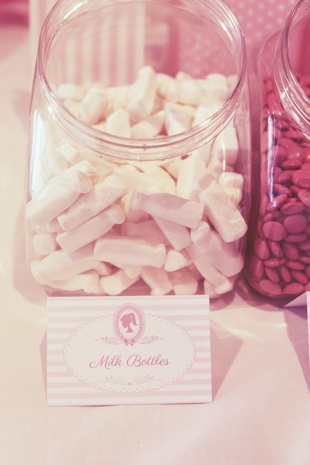 Jars of pink lollies provide party snacks alongside Personalised P&er Tent Cards & Pamper Party Treats! Jars of pink lollies provide party snacks ...