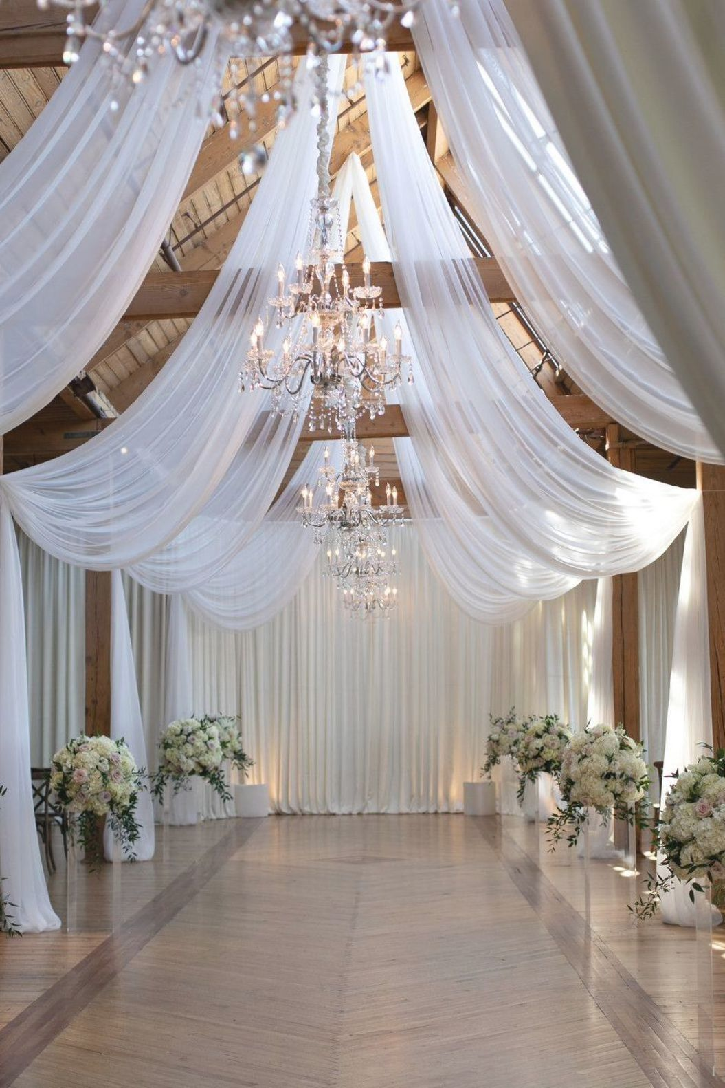 Pin By Lally On Wedding In 2020 White Wedding Ceremony Wedding Ceremony Decorations Wedding Drapery