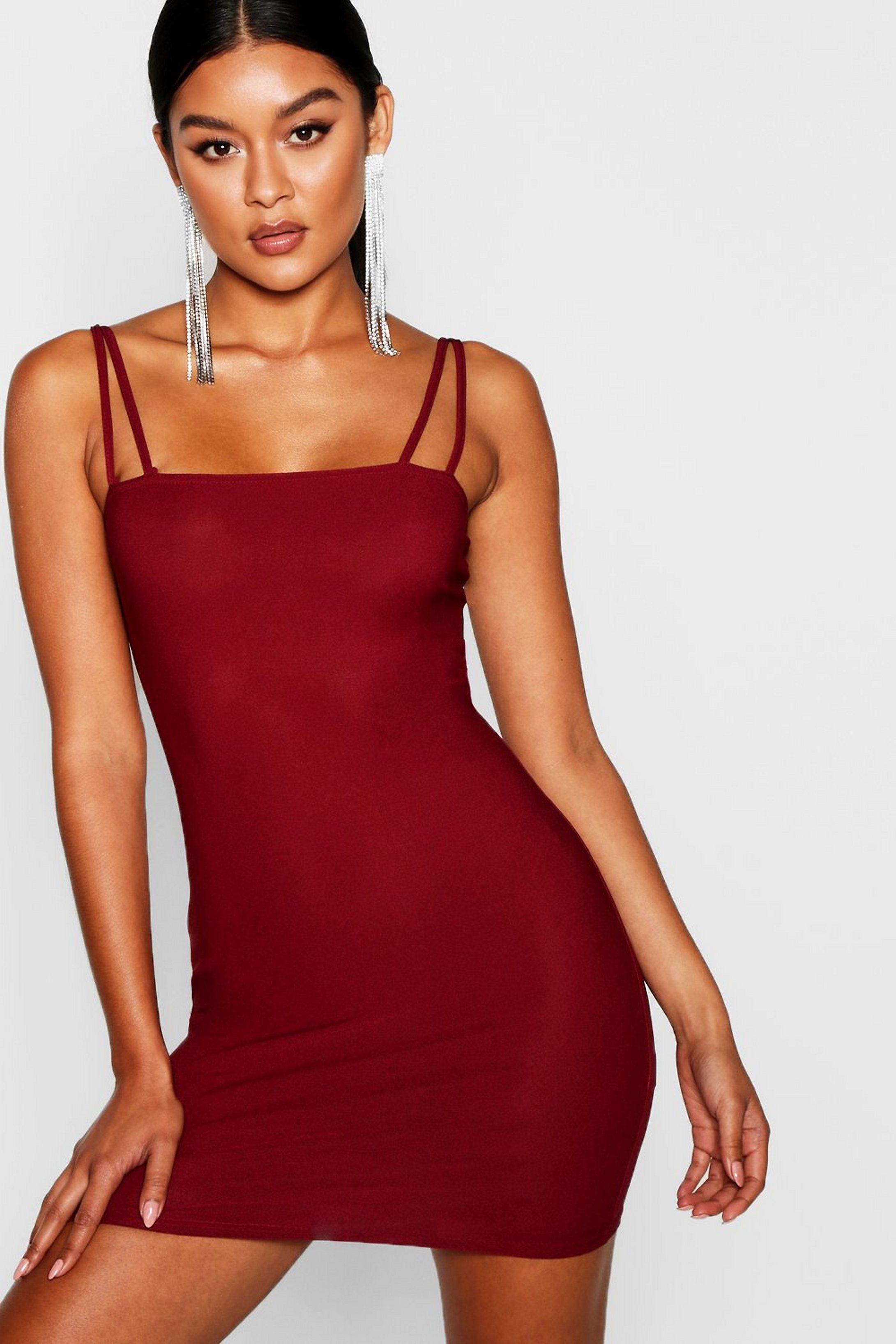 Square Neck Cross Strappy Bodycon Dress Boohoo Red Bodycon Dress Bodycon Dress Bodycon Fashion [ 3272 x 2181 Pixel ]