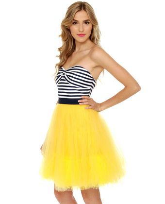 b260ecce40 Bradshaw s Beloved Strapless Navy and Yellow Dress  lovelulus