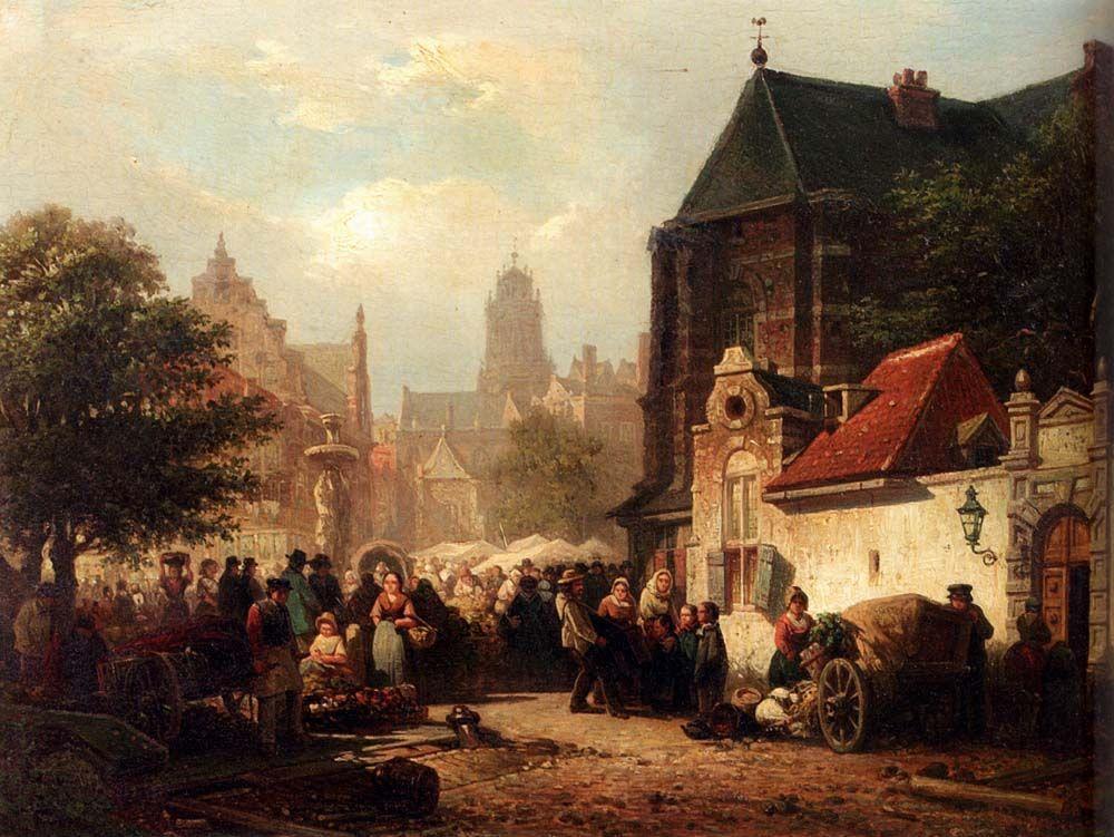 Elias Pieter van Bommel, A Market Day in Zaltbommel
