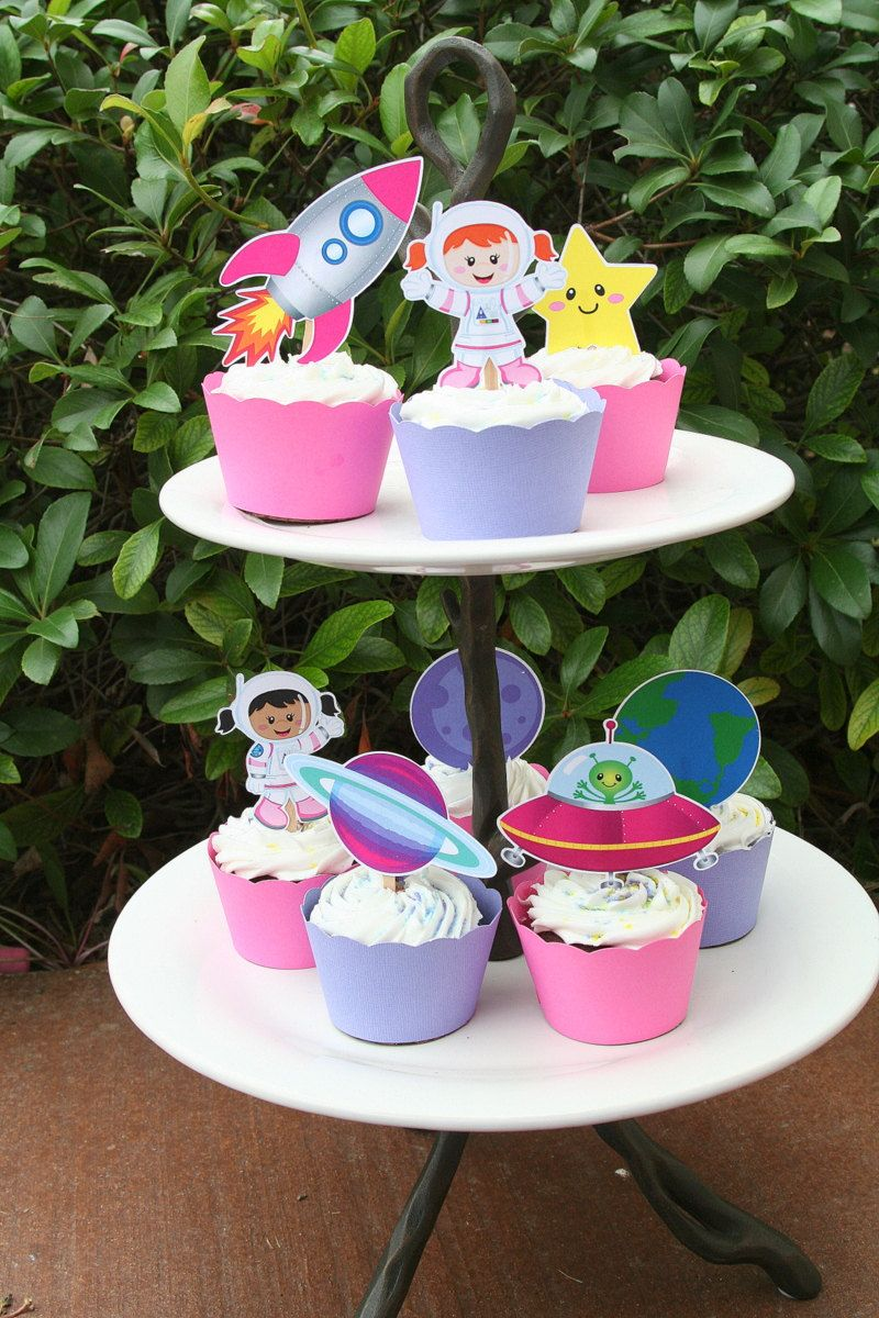 Astronaut Space Girl Party Assorted Cupcake by