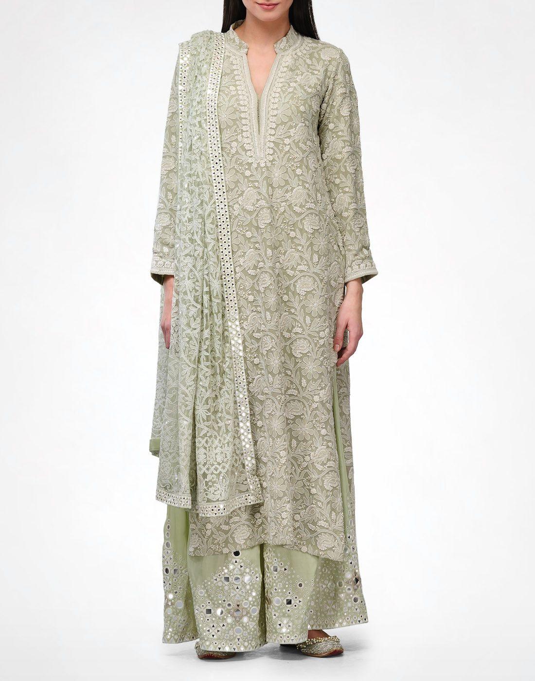 Sage Chikankari Kurta & Pyjama | Eid | Indian designer ...