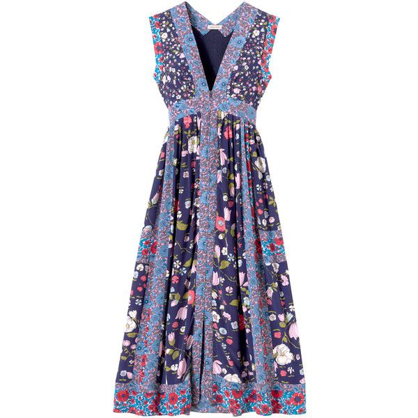 Rebecca Taylor Sleeveless Tapestry Garden Midi Dress (€315) ❤ liked on Polyvore featuring dresses, blackberry, floral dress, floral midi dress, maxi dresses, blue floral dress and midi dress