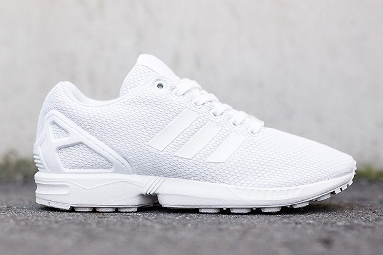 adidas all white trainers flux