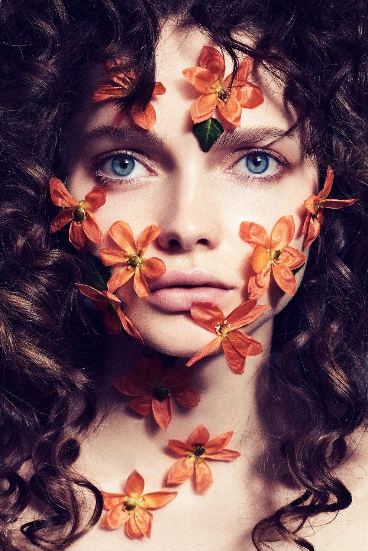 Картинки для, картинка девушка с цветком на лице