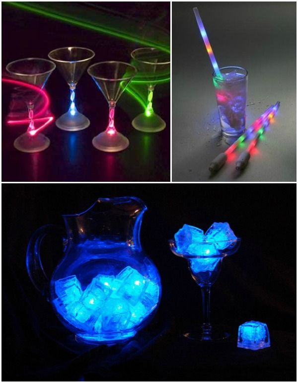 glow in the dark party ideas - led light-up glasses & ice cubes