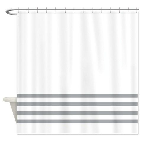 Striped Shower Curtain White With Yellow Stripes OR Customize Colors Standard Extra Long Sizes Custom Preppy Home Decor Classy Bathroom