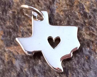 Texas Charm, Texas Heart Charm, Texas Pendant, Texas Stamping Blank, Sterling Silver Texas Stamping Blank, Sterling Silver Charm