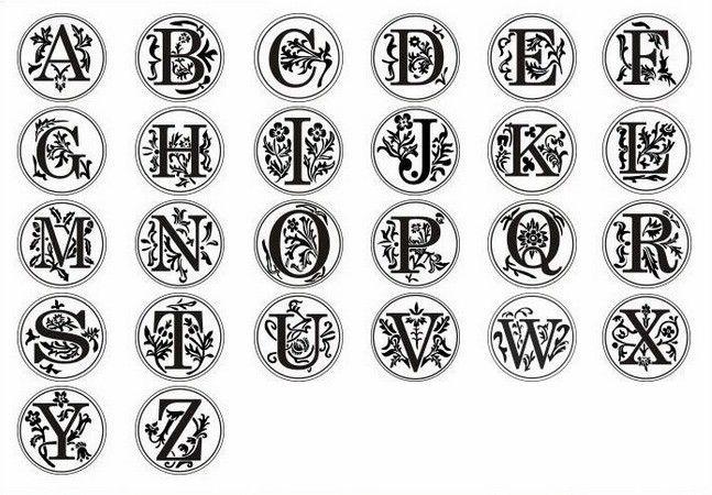 Retro Wax Seal stamp Copper head Curlicue 26 Letters alphets DIY