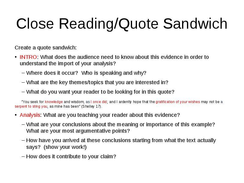 Quote Sandwiches Analysis Quote Integration Citation And The Adorable Quote Integration
