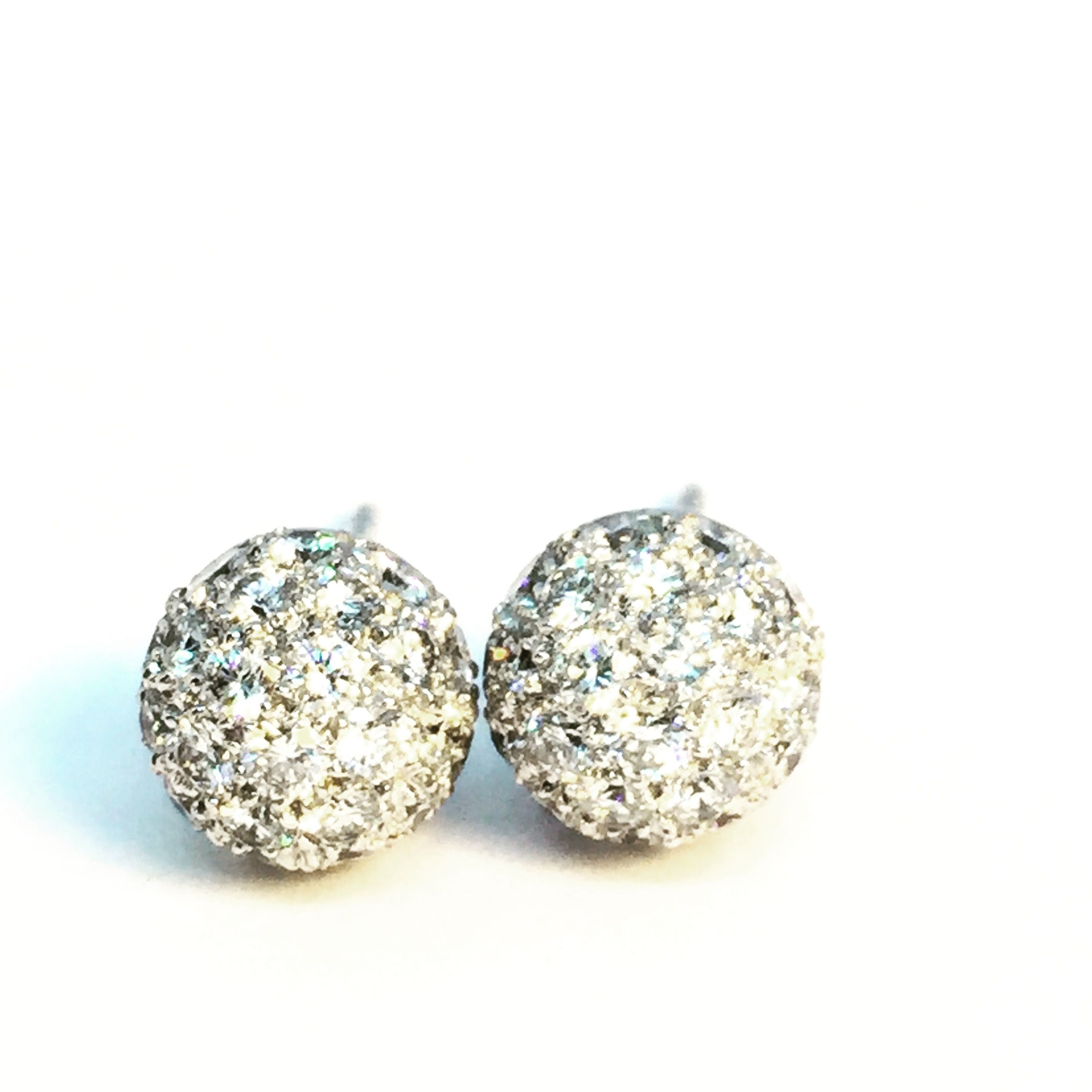 France Platinum Pave Diamond Ball Ear Studs 2 990 00