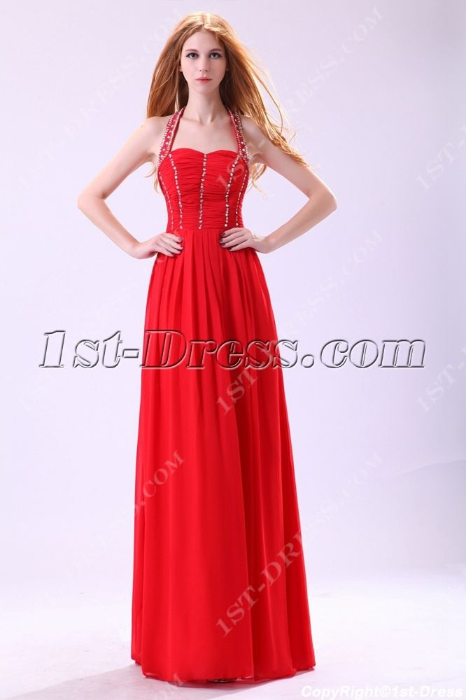 Red Halter Long Evening Dress For Petite Women1st Dresscom Red