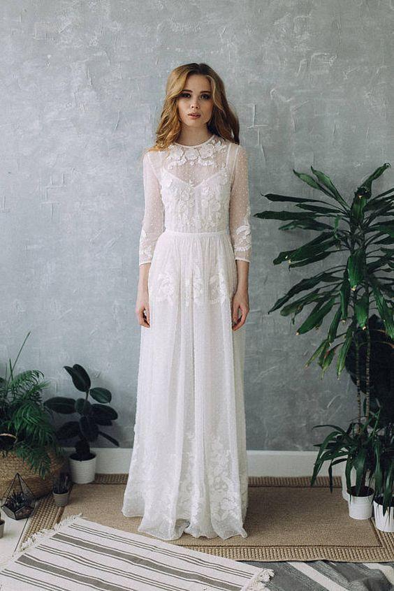Hochzeitskleid D0101 | Hochzeit Boho Kleid, Brautkleid mit langen Ärmeln, Vintage Brautkleid, Spitze Brautkleid, bescheidene Hochzeitskleid