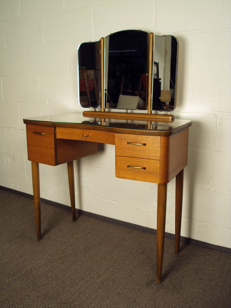 Mid century swedish modern dressing table vanity with mirror mid century swedish modern dressing table vanity with mirror geotapseo Choice Image