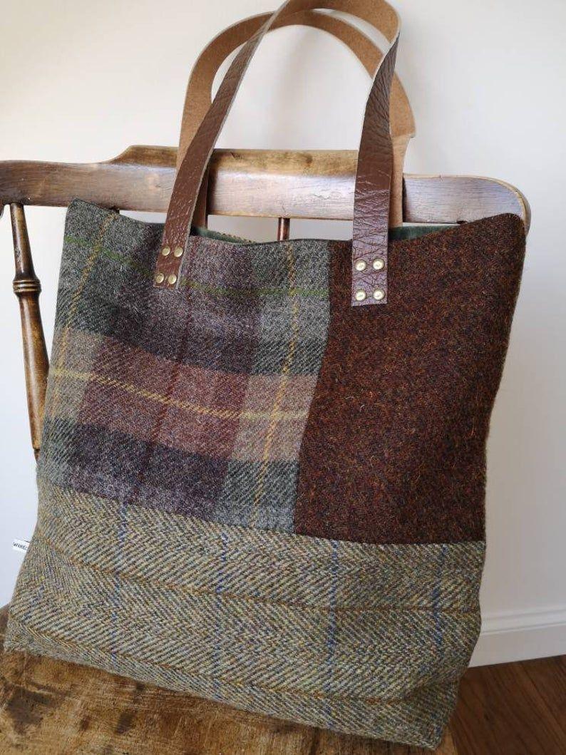 NOUVEAU sac fourre-tout Harris Tweed à carreaux fabriqués à la main avec de longs bracelets en cuir réel