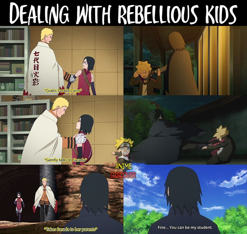 The Difference Between Naruto Sasuke When It Comes To Dealing With Rebellious Kids Naruto Shippuden Anime Naruto Funny Anime Naruto