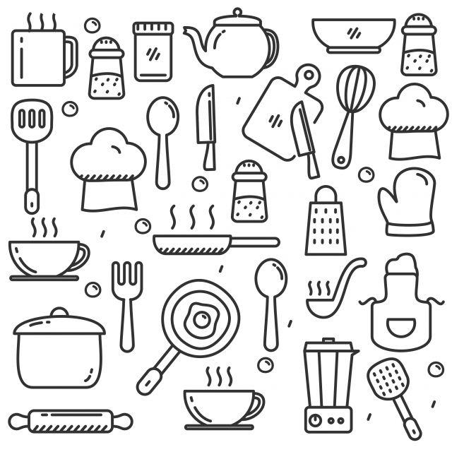 Insieme Disegnato A Mano Di Scarabocchio Degli Strumenti Della Cucina Dell Illustrazione Di Vettore Degli Utensili Da Cucina Con Progettazione Linea Sveglia Cl Nel 2020 Disegni A Mano Utensili Da Cucina Disegni
