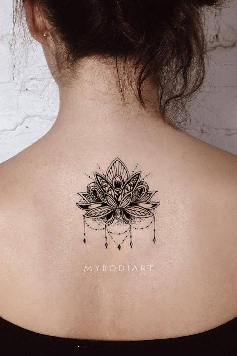 Cool Black Henna Chandelier Mandala Back Spine Tattoo