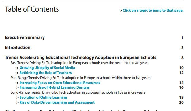Sex trender som driver på #digiskol. NMC Horizon Report Europe : 2014 Schools Edition . Där bl a #blendedlearning tas upp som en av sex områden som utvecklas av #digiskol https://www.youtube.com/watch?v=KFcc2ofE5UI . NMC:s rapport http://www.nmc.org/publications/2014-nmc-horizon-report-europe-schools Direktlänk: http://cdn.nmc.org/media/2014-nmc-horizon-report-EU-EN.pdf . Mer info i Stefans blogg: http://omvarld.blogg.skolverket.se/2014/10/08/den-digitala-utvecklingen-av-skolan-i-europa/ .