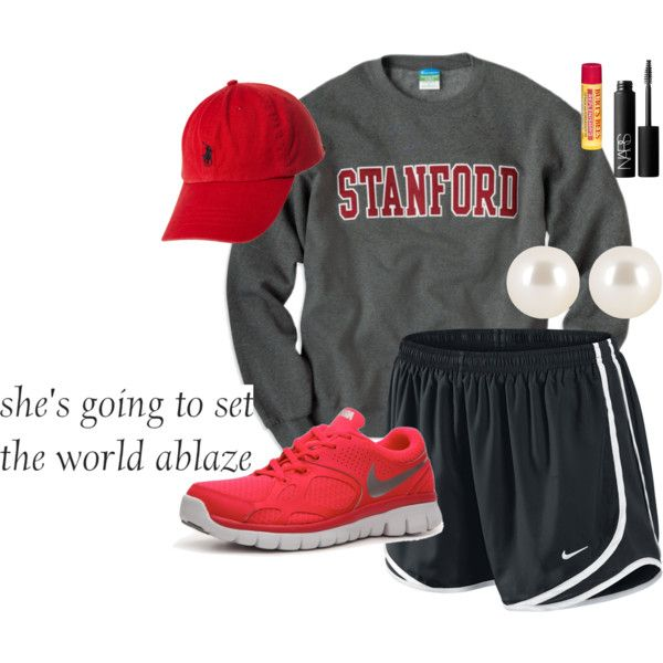 """You Don't Know Who You Are"" by musicprincess98 on Polyvore college sweatshirt nike tempo shorts baseball cap ted grey black pearls sneakers"