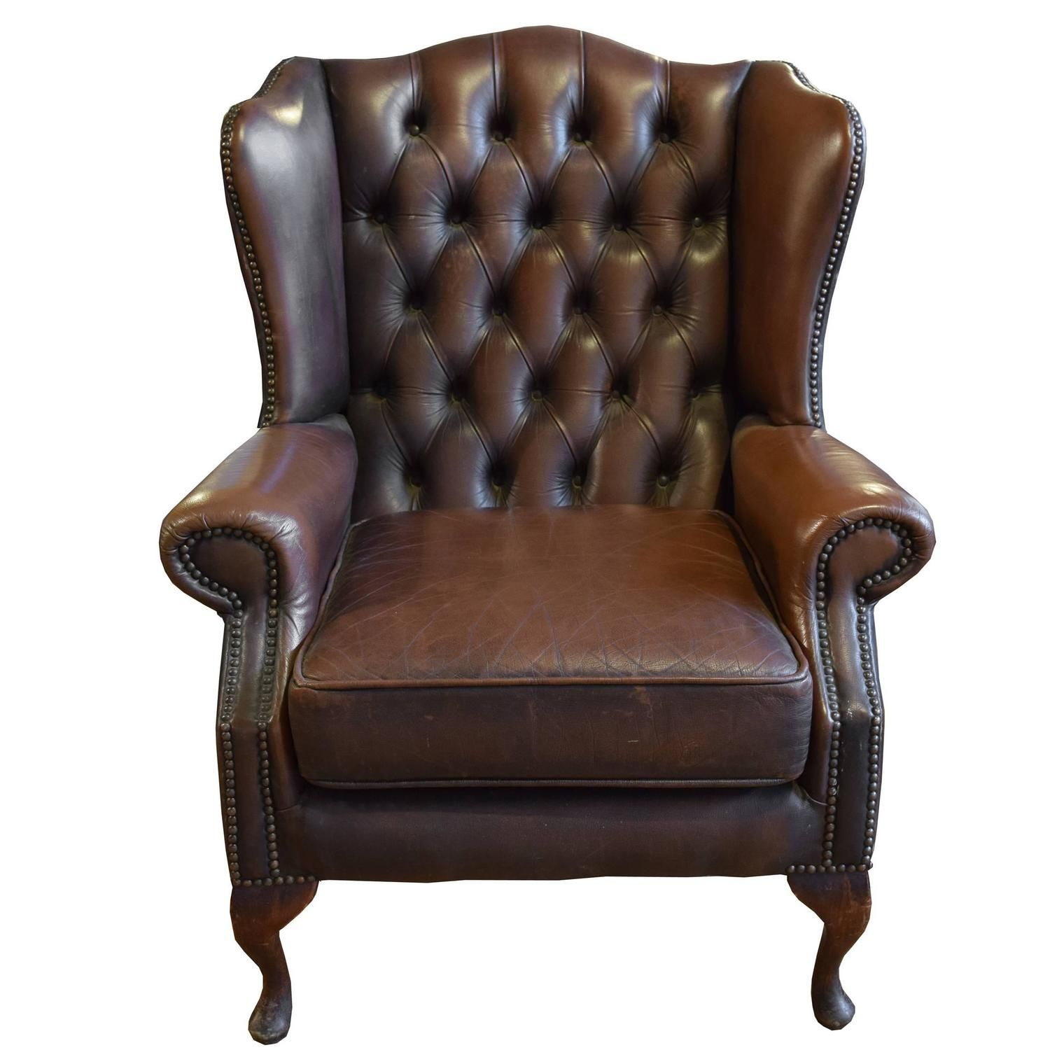 Seater queen anne high back wing sofa uk manufactured antique green - Tufted Leather Wing Chair
