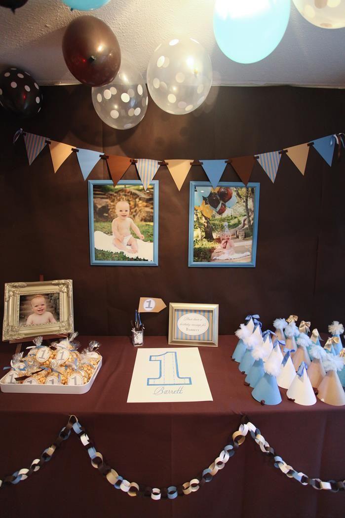 Blue Brown Boys Birthday Party Planning Ideas Supplies Idea Cake Decor 1st Boy Birthday Birthday Party Planning 1st Birthday Party Themes