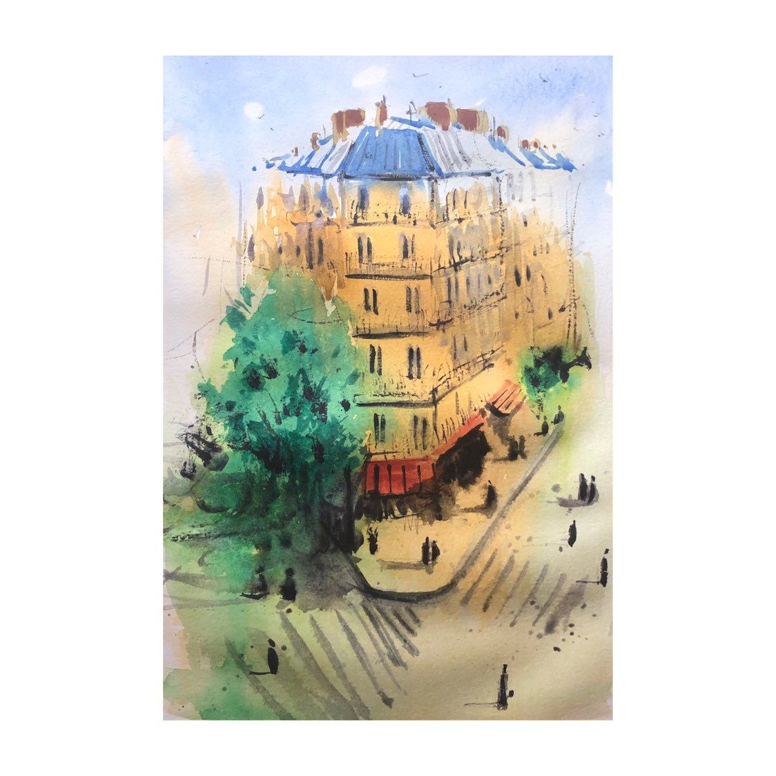 Original Watercolor Painting Cityscape Painting France Art