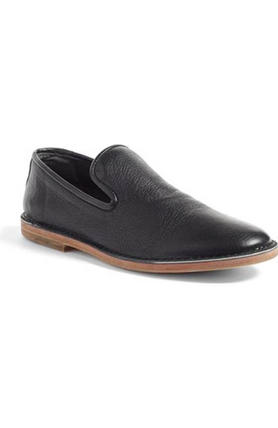Great with slacks or jeans. A vintage smoking-slipper silhouette adds understated refinement to an Italian-crafted loafer.