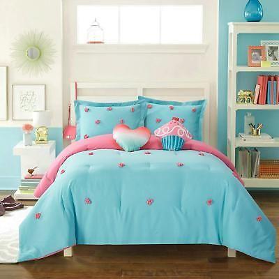 Kids Pom Pom Comforter Set Polka Dots Textured Tufted Bedroom