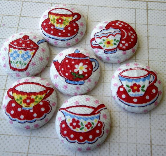 NEW  Fabric Thumbtacks or Magnets  Tea Time  by prettyoriginals, $8.50