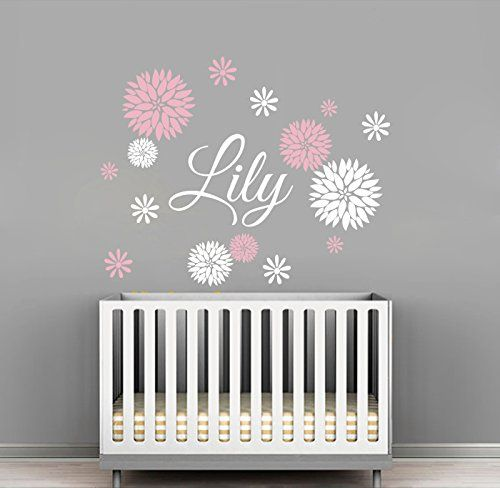 Custom Flowers Name Wall Decal   Girls Kids Room Decor   Nursery Wall Decals    Flower Part 48